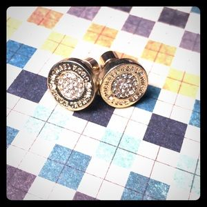 Michael Kors round Gold-tone Crystal pave Earrings